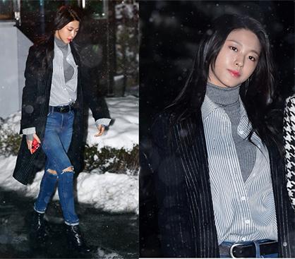 설현 출근길 패션, 스트라이프 아이템 스타일링 '시크'