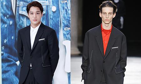 엑소 카이 vs 모델, 댄디한 '블랙 재킷' 패션 대결