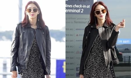 유이, 빨간머리 변신…세련된 공항 패션 '눈길'