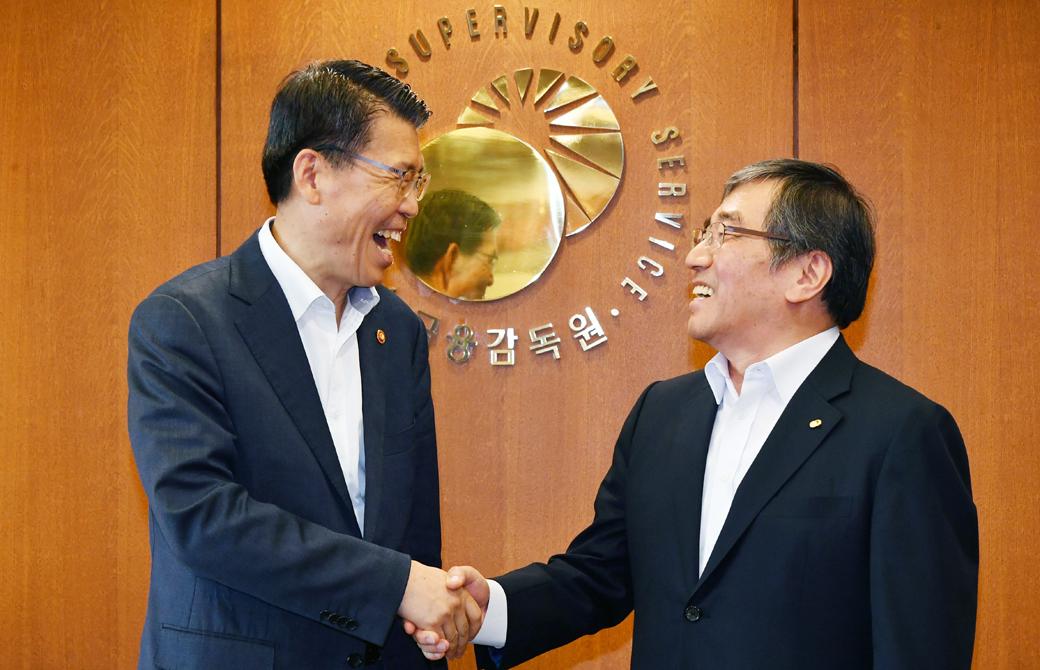 은성수·윤석헌 첫 회동, '금융위·금감원' 앙금 풀고 공생하나
