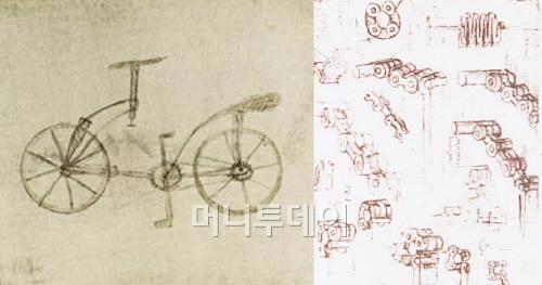 ▲ 레오나르도 다빈치의 자전거 스케치(1490년 경)
