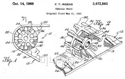 ▲ 센터트랙 선행기술(1966년), 차량용 무한궤도에 대한 발명. 바퀴의 구조가 센터트랙과 동일하다. 출처: Finn Irgens, US3472563, 'Vehicle track'