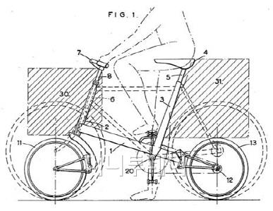 ▲ 몰튼의 첫 자전거 특허(1959년) 앞바퀴와 뒷바퀴 모두에 동일한 메커니즘의 고무스프링 완충장치를 적용했다. 여러 해 개선을 거쳐 출시될 때는 앞바퀴 고무스프링을 길게 늘려 핸들기둥 안으로 넣은 구조였다. / 출처: Alexander Eric Moulton, US3083039, 'Pedal Cycles'.
