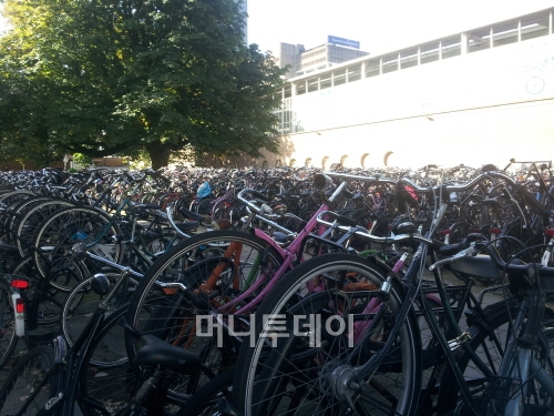 ▲ 암스테르담 교외 역 자전거 주차장
