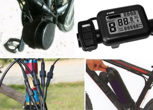 ▲ 센터드라이브 구성 센터모터, 콘트롤 콘솔, EB-Bus 단자, 배터리(왼쪽 상단 시계방향)