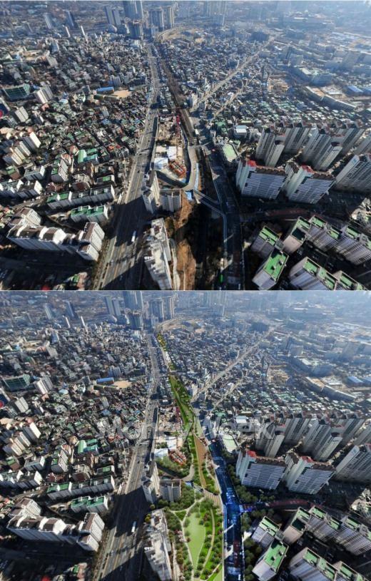 새창고개 현재모습(위)과 공원조성뒤 예상 조감도(아래).