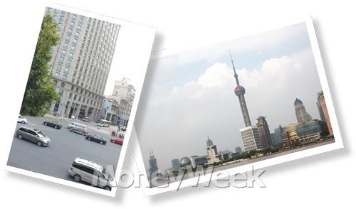 상하이 푸둥 시내와 둥팡밍주 타워