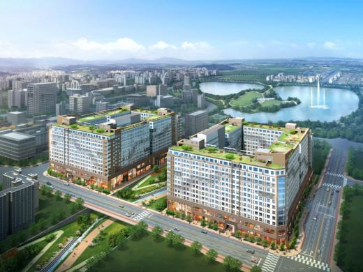 중흥건설이 오는 18일 광주.전남혁신도시에서 공급에 나설  '중흥S-클래스 메가티움' 오피스텔 조감도.