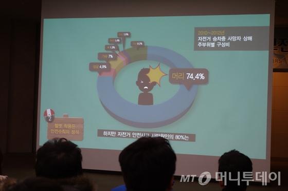 참가자들이 UCC 일반부문 최우상을 차지한 홍빛누리씨의 '건강한 자전거 타기'를 감상하고 있다./사진=이고운 기자