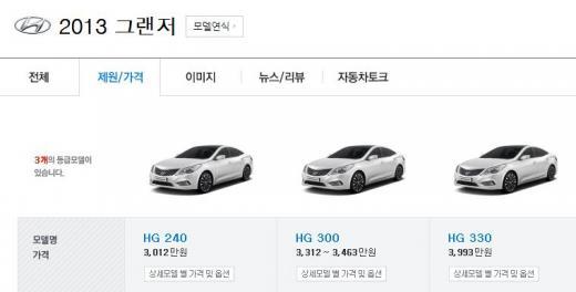 ▲HG330모델도 옵션을 추가하지 않으면 수령이 가능하다(출처=네이버 자동차 캡처)