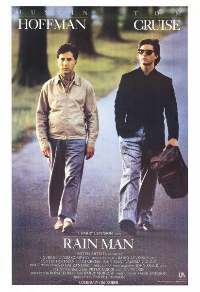 ▲레인맨(1989년 개봉)포스터, 더스틴호프만은 서번트 신드롬을 앓는 역할을 실감나게 연기해 아카데미상 남우주연상 등 각종 상을 수상했다