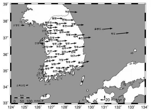 ▲화살표의 크기는 변동량, 지역명은 위성기준점 위치(출처=국토교통부 보도자료)