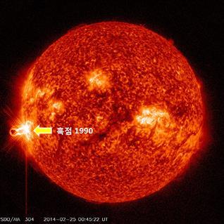 ▲GOES 위성(미국 NOAA의 정지궤도 위성)에서 관측한 태양 X선 자료 (제공=미래창조과학부 보도자료)