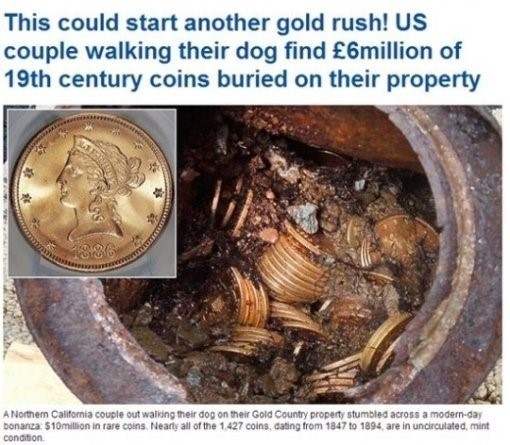 100억 옛 금화 횡재, 로또보다 대박이네