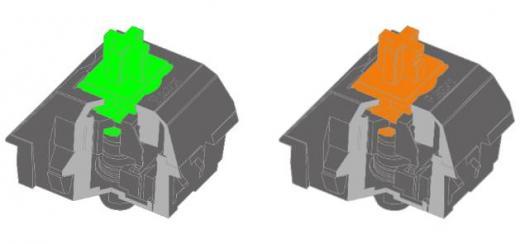 ▲새롭게 출시된 레이저 기계식 그린 스위치(좌), 레이저 기계식 오렌지 스위치(우)