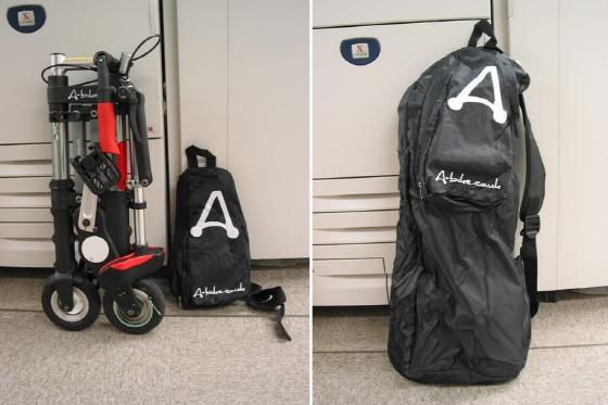 에이바이크와 휴대를 위한 전용가방(2007) 가방의 측면 지퍼를 열어 숨겨진 주머니를 펼친 후 자전거를 넣을 수 있는 구조다. 이 가방에 넣기엔 에이바이크가 너무 예쁜 자전거라는 의견들이 많았다./사진=Amuro Lee(홍콩)