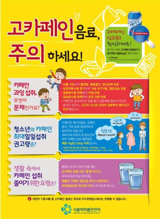 카페인 많이 먹으면 키 안커요..식약처 홍보 포스터 배포