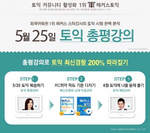 해커스토익, 5월 토익시험 총평강의 무료 제공…홍정윤, 김경해 강사 진행