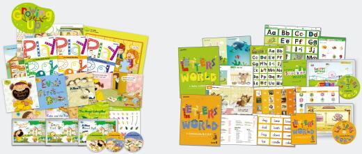▲ 튼튼영어 프리스쿨의 (좌) 'Growing Up' 프로그램, (우) 'Letters' World' 프로그램