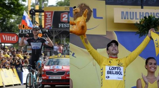 구간 우승을 차지한 토니 마틴과 3년 만에 프랑스 선수 중 개인종합 1위에 올라 선 토니 갈로팽(좌우)/사진=A.S.O