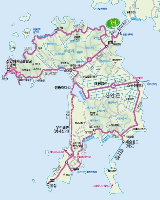 증도 코스: 증도대교-신안해저유물발굴기념비-북쪽해안도로-증동리-짱뚱어다리-우전해변-목섬-대술웅도(화도)-소금전망대-증도대교 49.2km(5시간), 포장도로 26.8km, 비포장 22.4km/이미지제공=전라남도