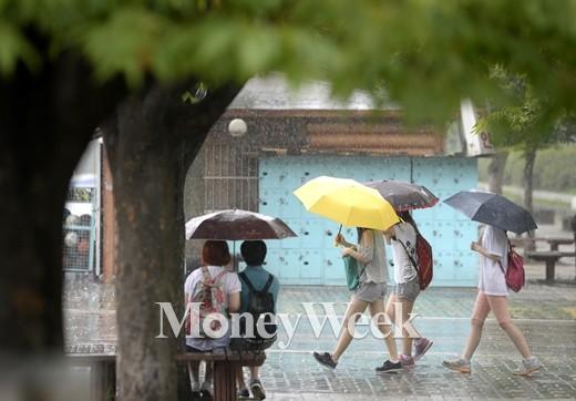전국 곳곳에 비가 내린 지난 6일 오후 서울 여의도공원에서 우산을 쓴 시민들이 걸어가고 있다. /사진제공=뉴스1
