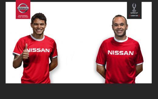 UEFA 챔피언스리그 파트너십 글로벌 홍보 대사 티아고 실바(왼쪽)와 안드레스 이니에스타 /사진제공=닛산