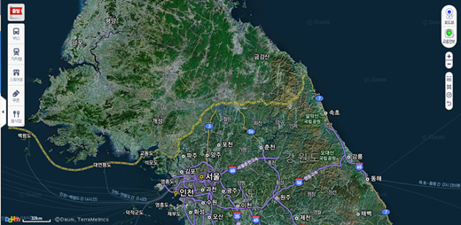 북한정보를 제공하지 않던 기존의 지도 /제공=다음지도