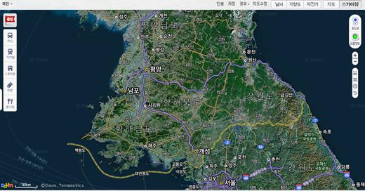 북한지도 서비스 실시 후 주요도로와 행정구역 경계선이 드러난다. /제공=다음지도