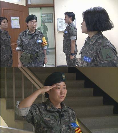 ▲MBC '진짜 사나이' 여군 특집에 출연 중인 배우 라미란이 당직사관으로 완벽하게 변신해 여군 부사관 후보생들을 떨게 만들었다/ 사진제공=MBC