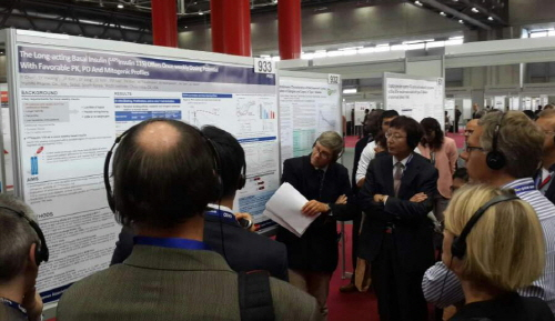 EASD에 참가한 전세계 연구자들이 한미약품 바이오신약에 대한 연구 결과에 집중하고 있다.