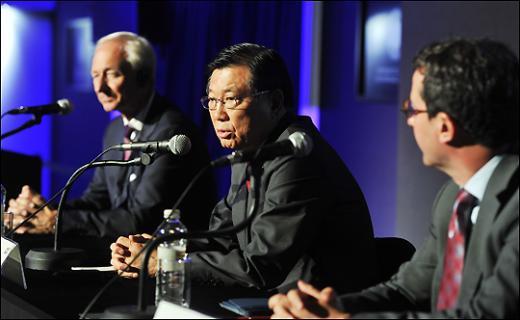 박삼구 금호아시아나 회장이 몽블랑 문화예술후원자상 수상 소감을 밝히고 있다. /사진=류승희 기자