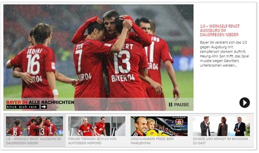 바이엘 레버쿠젠 공식 홈페이지 메인화면에 손흥민의 골세리머니 사진이 게재됐다. /사진=레버쿠젠 공식홈페이지 캡처