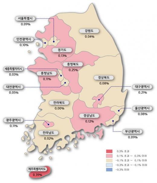 주간 아파트 매매가격지수 변동률 색인도.(자료제공=한국감정원)