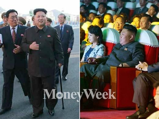 북한 노동당 기관지인 노동신문은 14일 1~3면에 걸쳐 김 제1위원장이 지팡이를 짚고 앉아있거나 걷는 모습으로 위성과학자주택지구 현지시찰하는 사진을 공개했다(왼쪽). 오른쪽은 김정은 위원장이 40여일 전인 지난달 4일 부인 리설주, 여동생 김여정과 함께 모란봉악단의 신작음악회를 관람하는 모습. /사진=노동신문, 뉴스1 제공