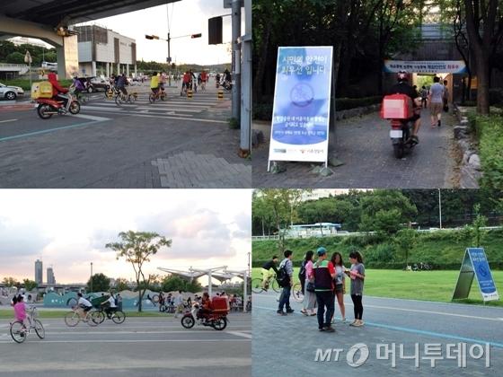 자전거도로를 드나드는 배달오토바이와 '시민의 안전이 최우선입니다'라는 알림판. 전단지를 돌리는 운전자와 자전거 이용자와 섞인 배달오토바이(왼쪽부터 시계방향)/사진=이고운 기자