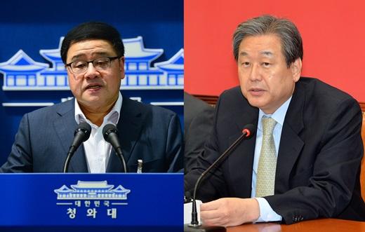 안종범 청와대 경제수석(왼쪽)·김무성 새누리당 대표 /사진=뉴스1