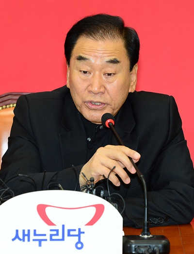 이재오 새누리당 의원이 5일 오전 서울 여의도 당대표회의실에서 열린 최고중진연석회의에서 모두발언을 하고 있다. /사진=뉴스1