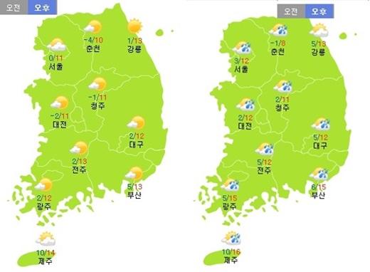 주말인 15일 토요일(왼쪽), 16일 일요일 날씨 /제공=기상청