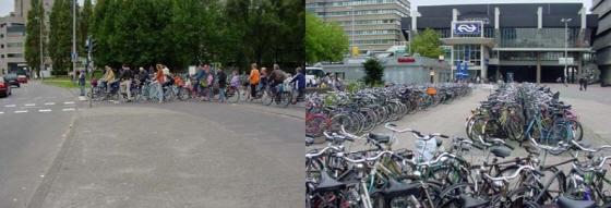 신호를 기다리는 자전거 이용자와 포화상태인 중앙역 자전거주차장(2003년)/사진=우트레흐트시 자료