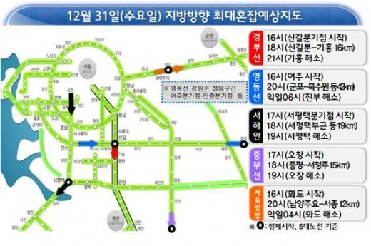 주요노선 예상정체시간 및 구간./자료제공=한국도로공사