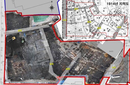 ▲공평동 500년전 골목길 발굴(조선 시대 골목과 일제강점기 지적도 비교)