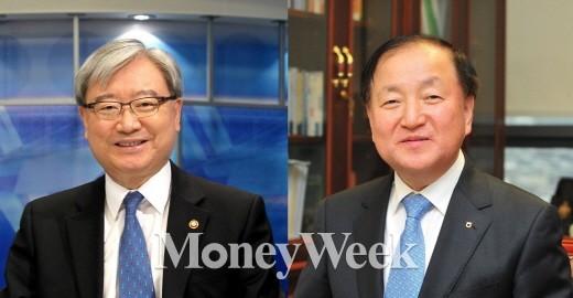 김석동 전 금융위원장(왼쪽)과 김주하 NH농협은행장.