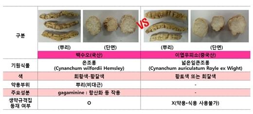 백수오와 이엽우피소 /자료제공=한국소비자원