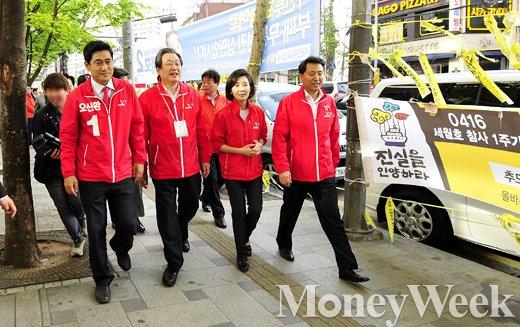 (왼쪽부터) 기호 1번 오신환 후보, 김무성 대표, 나경원 의원, 오세훈 전 서울시장