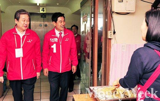 [MW사진] 4.29 재보선, 김무성-오신환 '순대촌 방문한 두 남자'