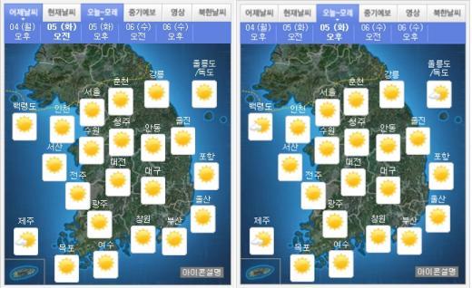 '오늘 날씨' '오늘 미세먼지' '어린이날 날씨'