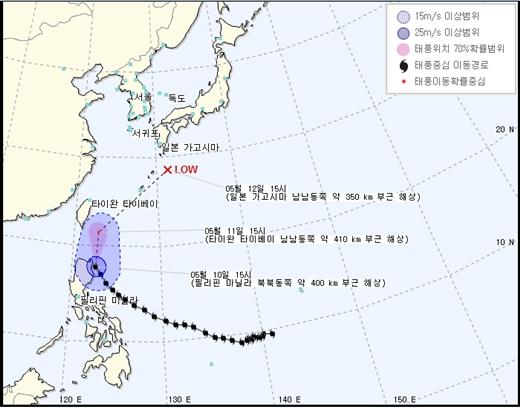 10일 오후 4시 기준 태풍 '노을' /제공=기상청 국가태풍센터