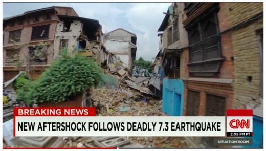 12일(현지시간) 네팔에서 지진 규모 7.3의 강진이 발생해 최소 50명이 숨졌다. /자료=미국 CNN 뉴스 캡처