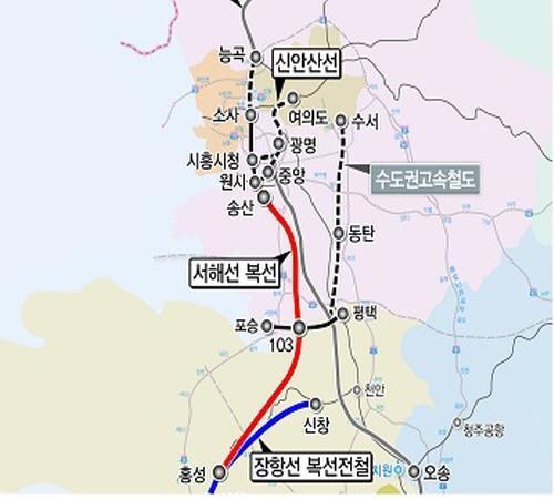 '홍성 여의도' 서해선 복선전철 노선도. /제공=국토교통부
